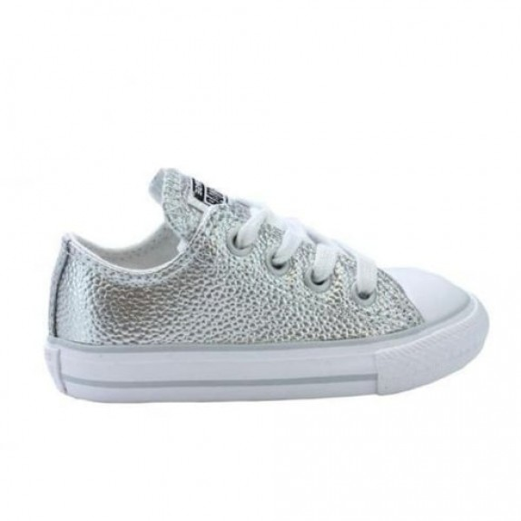 silver leather converse