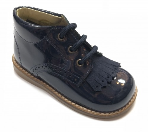 00295 Navy Fringe Brogue Boot