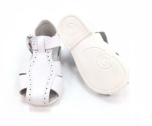 00120-E Brogue White Spider Sandal