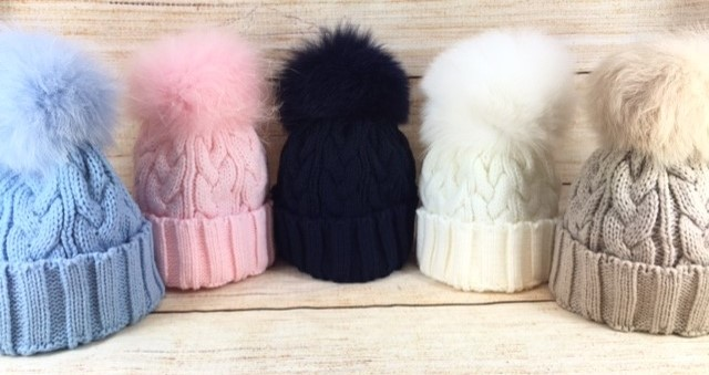 Kids Fur Pom Pom Hats